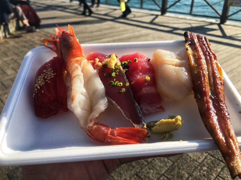 Enjoy The Fresh Sushi bought from karato market