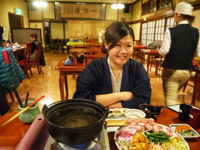 Shabu-shabu dinner served in Ichinoyu Honkan